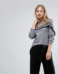 Y.A.S Ruffle Hem Jumper Medium Grey