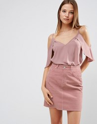 Asos Cold Shoulder Cami Top With Flutter Sleeve Winter Lilac Purple