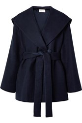 The Row Reyna Hooded Belted Cotton And Wool Blend Jacket Navy