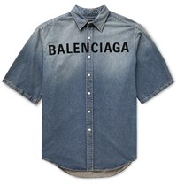 Balenciaga Oversized Logo Embroidered Denim Shirt Blue