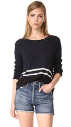 James Perse Stripe Oversize Crew Sweater French Navy Stripe