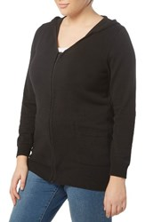 Evans Plus Size Women's Zip Front Hoodie Black