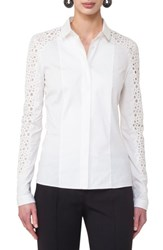 Akris Punto Women's Lace Inset Cotton Blend Blouse