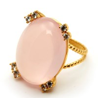Gfg Jewellery Niki Ring Rose Quartz White Sapphires Gold Pink Purple