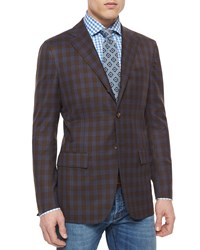 Kiton Twill Plaid Blazer Brown Blue