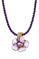 Dani G Jewelry 14K Yellow Gold Hand Carved Purple Agate And Citrine Flower Pendant Necklace