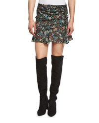 Veronica Beard Violet Floral Silk Ruffle Mini Skirt Black Multicolor Black Multi