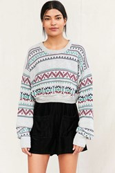 Urban Renewal Remade Cropped Fair Isle Sweater Grey