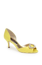 Nina 'Crystah' Embellished Satin Pump Canary Yellow