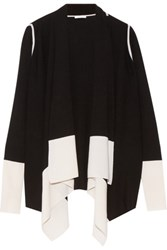 Duffy Two Tone Draped Wool And Cashmere Blend Cardigan Black