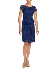 Ellen Tracy Belted Eyelet A Line Dress Navy