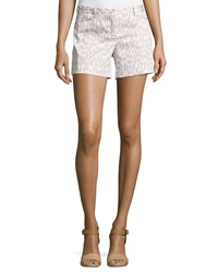 Laundry By Shelli Segal Animal Print Oxford Shorts Tan White