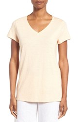 Eileen Fisher Women's Organic Cotton V Neck Tee Buff