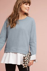 Anthropologie Layered Poplin Sweatshirt Dark Grey