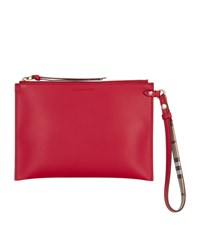 Burberry Grained Leather Pouch Red