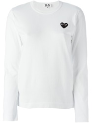 Comme Des Garcons Play Embroidered Heart Longlseeved T Shirt White