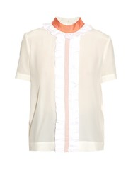 Fendi Ruffled Silk Crepe De Chine Blouse White Multi