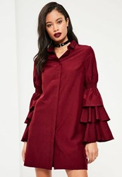 Missguided Burgundy Layer Sleeve Shirt Dress Oxblood