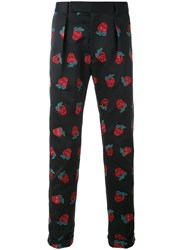 Paul Smith Strawberry Embroidered Tapered Trousers Men Cotton 32 Blue