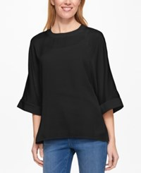 Tommy Hilfiger Three Quarter Sleeve Top Only At Macy's Black