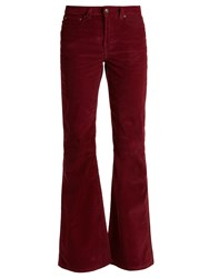 Rockins High Rise Cotton Blend Corduroy Flared Trousers Burgundy