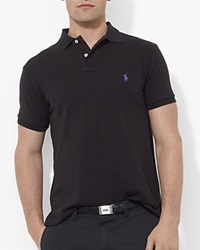 Polo Ralph Lauren Custom Short Sleeved Cotton Mesh Polo Slim Fit Black