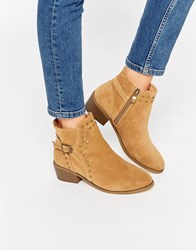 Daisy Street Tan Buckle And Stud Western Ankle Boots Tan