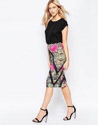 Girls On Film Midi Skirt In Chevron Mix Print Multi