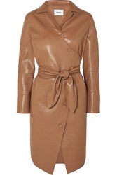 Nanushka Ailsa Vegan Leather Wrap Dress Brown