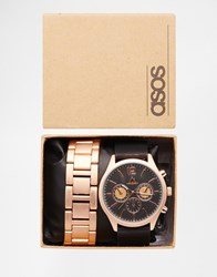 Asos Interchangeable Watch In Black With Rose Gold Bracelet Multi