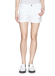 Frame Denim 'Le Grand Garcon' Distressed Denim Shorts White