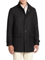 Salvatore Ferragamo Wool Car Coat Black