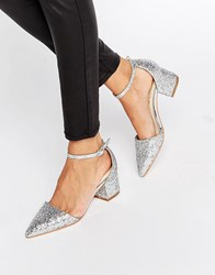 Truffle Collection Glitter Molly Mid Heel Shoe Silver Glitter