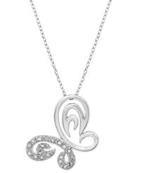 Victoria Townsend Diamond Butterfly Pendant Necklace In Sterling Silver 1 5 Ct. T.W.