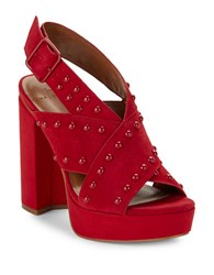 H Halston Bailey Studded Suede Platform High Heel Sandals Flame Red