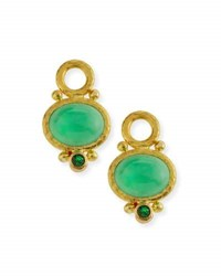 Elizabeth Locke Oval Chrysoprase Earring Pendants