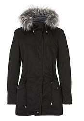 Betty And Co. Hooded Jacket With Faux Fur Trim Black