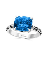 Effy Blue Topaz And 0.925 Sterling Silver Cutout Shank Ring