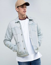 New Look Denim Jacket With Rips In Light Wash Blue