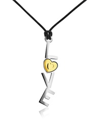 Zoppini 18K Gold And Stainless Steel Love Pendant W Lace