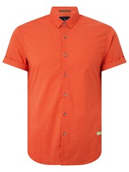 Scotch And Soda Short Sleeve Shirt Orange