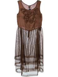 Comme Des Gara Ons Girl Tulle Ruffle Detail Dress Brown