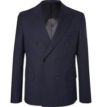 Officine Generale Navy Double Breasted Pinstriped Wool Blazer