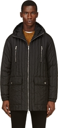 Dsquared Black Ribbed Quilted Parka