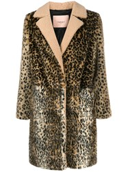 Twin Set Leopard Print Coat Neutrals