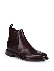 Brioni Leather Goodyear Brogue Ankle Boots Oxblood