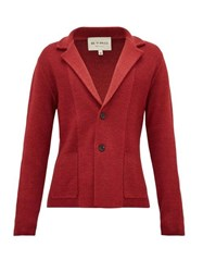 Etro Garment Dyed Knitted Wool Cardigan Red