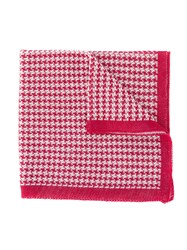 Canali Houndstooth Knitted Scarf Red