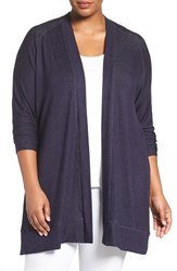 Sejour Plus Size Women's 'Bess' French Terry Cardigan Navy Peacoat