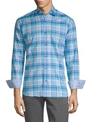 Bertigo Plaid Cotton Button Down Shirt Blue